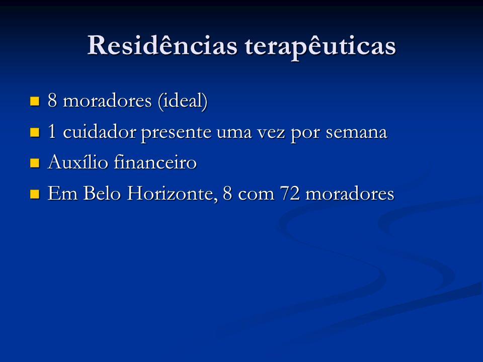 Residências terapêuticas 8 moradores (ideal) 8 moradores (ideal) 1 cuidador presente uma vez por semana 1 cuidador presente uma vez por semana Auxílio