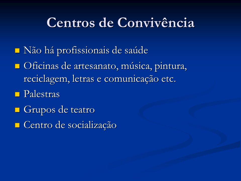 Centros de Convivência Não há profissionais de saúde Não há profissionais de saúde Oficinas de artesanato, música, pintura, reciclagem, letras e comun