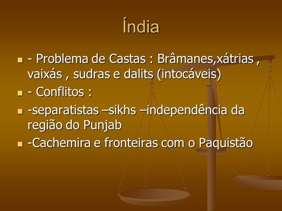 Índia - Problema de Castas : Brâmanes,xátrias, vaixás, sudras e dalits (intocáveis) - Problema de Castas : Brâmanes,xátrias, vaixás, sudras e dalits (