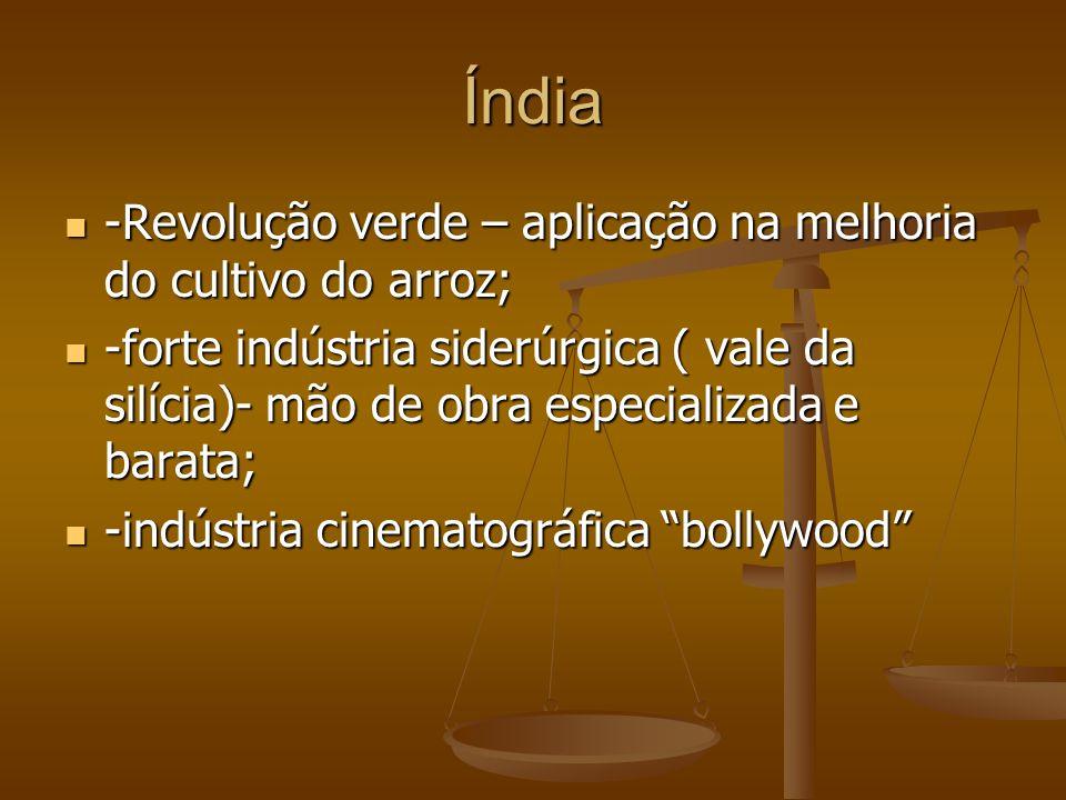 Índia -Revolução verde – aplicação na melhoria do cultivo do arroz; -Revolução verde – aplicação na melhoria do cultivo do arroz; -forte indústria sid