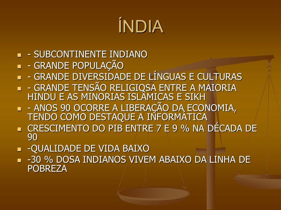 ÍNDIA ÁREA : 3.287.263 KM2 ÁREA : 3.287.263 KM2 POPULAÇÃO : 1,242 BILHÕES DE PESSOAS POPULAÇÃO : 1,242 BILHÕES DE PESSOAS -COMPOSIÇÃO ÉTNICA : INDO-ARIANOS 72%,DRÁVIDAS 25%,MONGÓIS E OUTROS 3% -COMPOSIÇÃO ÉTNICA : INDO-ARIANOS 72%,DRÁVIDAS 25%,MONGÓIS E OUTROS 3% -RELIGIÃO : HINDUÍSMO 73%,ISLAMISMO 13,7%,CRISTIANISMO 4,8%,CRENÇAS TRADICIONAIS 4,1%, SIKHS 1,8%, AGNOSTICISMO E ATEÍSMO 1,3% -RELIGIÃO : HINDUÍSMO 73%,ISLAMISMO 13,7%,CRISTIANISMO 4,8%,CRENÇAS TRADICIONAIS 4,1%, SIKHS 1,8%, AGNOSTICISMO E ATEÍSMO 1,3% PIB : US$ 1,7 TRILHÃO PIB : US$ 1,7 TRILHÃO IDH: 0,547 IDH: 0,547 EXPECTATIVA DE VIDA : 66,5 ANOS EXPECTATIVA DE VIDA : 66,5 ANOS PIB : INDÚSTRIA 27 % E SERVIÇOS 55 % E AGROPECUÁRIA 18 % PIB : INDÚSTRIA 27 % E SERVIÇOS 55 % E AGROPECUÁRIA 18 %