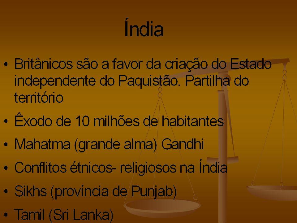 Paquistão Estado de Pureza - Inicialmente parte ocidental e Oriental - - Após forte rebelião a parte oriental se separou da Ocidental, surgindo bangladesh - - guerras de limites e por questões religiosas com a Índia – 1948, 1965 e 1971 (independência de bangladesh) - - Tecnologia Militar, mas com grande número de analfabetos, cerca de 50% da população e pobreza.