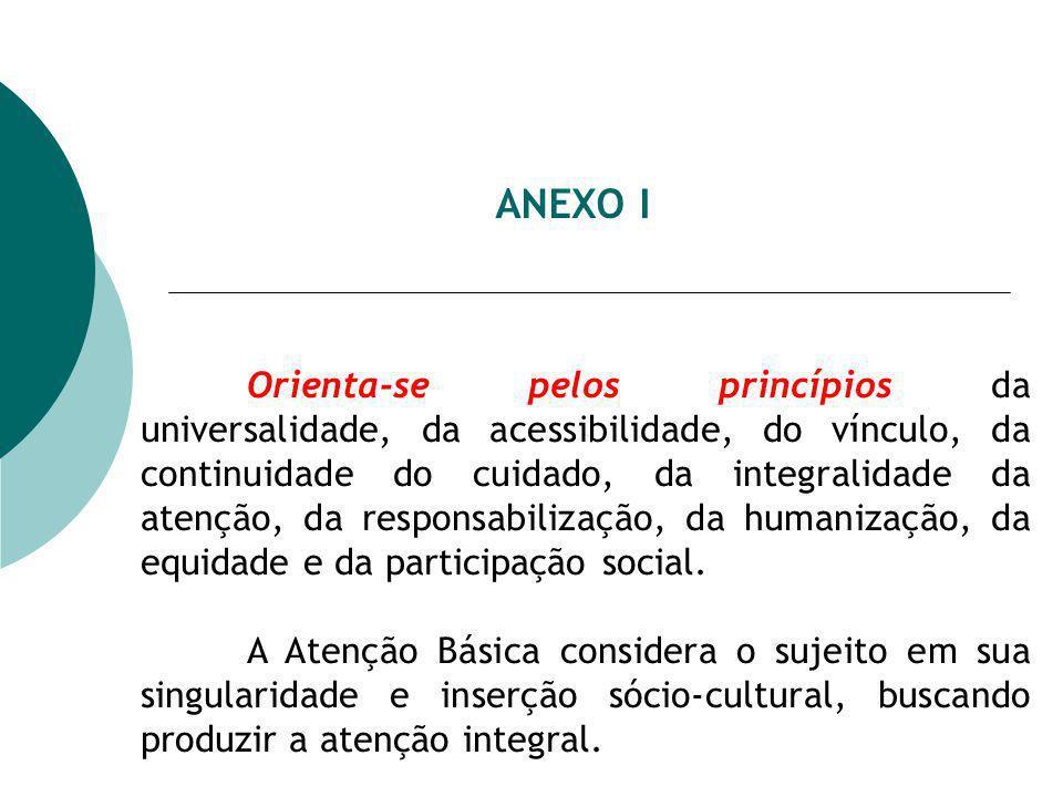 ANEXO I Orienta-se pelos princípios da universalidade, da acessibilidade, do vínculo, da continuidade do cuidado, da integralidade da atenção, da responsabilização, da humanização, da equidade e da participação social.