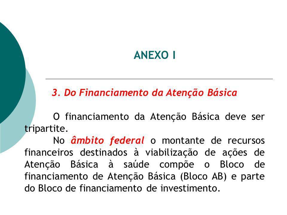 ANEXO I 3. Do Financiamento da Atenção Básica O financiamento da Atenção Básica deve ser tripartite. No âmbito federal o montante de recursos financei