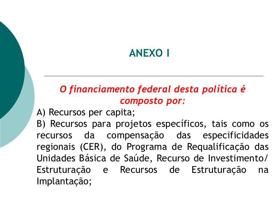 ANEXO I O financiamento federal desta política é composto por: A) Recursos per capita; B) Recursos para projetos específicos, tais como os recursos da compensação das especificidades regionais (CER), do Programa de Requalificação das Unidades Básica de Saúde, Recurso de Investimento/ Estruturação e Recursos de Estruturação na Implantação;