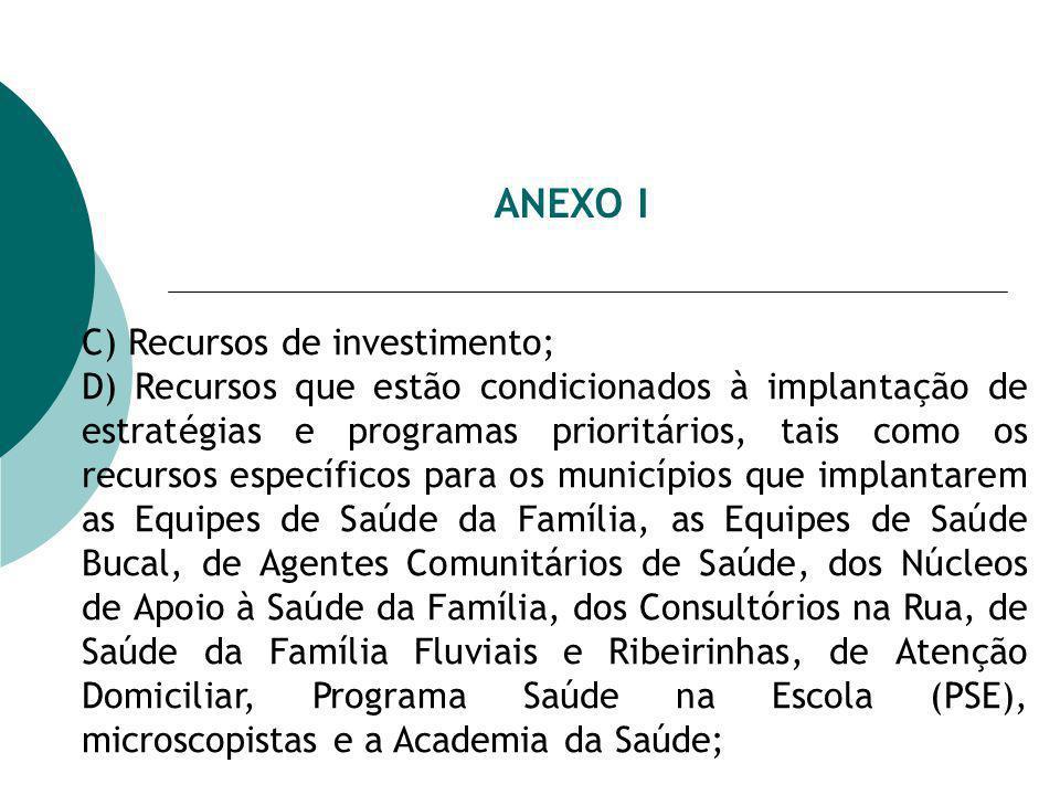 ANEXO I C) Recursos de investimento; D) Recursos que estão condicionados à implantação de estratégias e programas prioritários, tais como os recursos