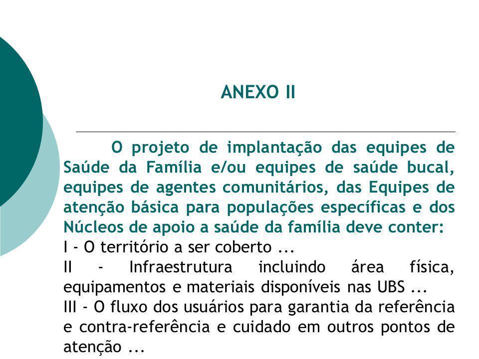 ANEXO II O projeto de implantação das equipes de Saúde da Família e/ou equipes de saúde bucal, equipes de agentes comunitários, das Equipes de atenção