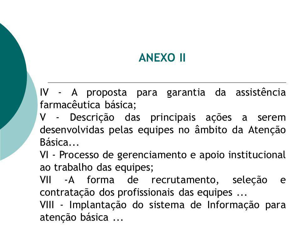 ANEXO II IV - A proposta para garantia da assistência farmacêutica básica; V - Descrição das principais ações a serem desenvolvidas pelas equipes no âmbito da Atenção Básica...