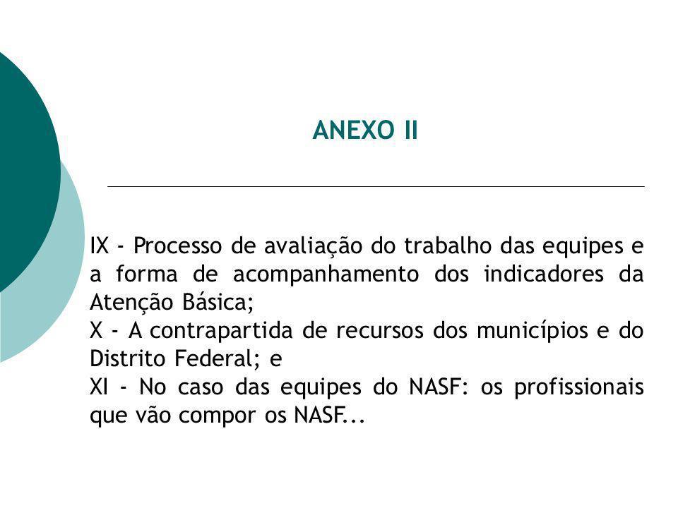 ANEXO II IX - Processo de avaliação do trabalho das equipes e a forma de acompanhamento dos indicadores da Atenção Básica; X - A contrapartida de recursos dos municípios e do Distrito Federal; e XI - No caso das equipes do NASF: os profissionais que vão compor os NASF...