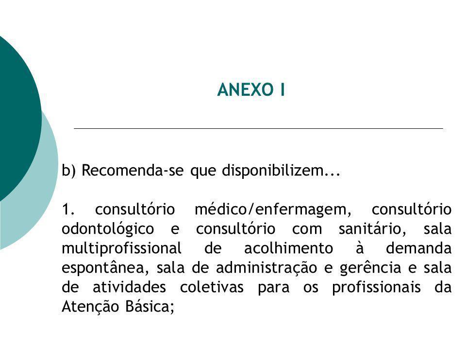 ANEXO I b) Recomenda-se que disponibilizem... 1. consultório médico/enfermagem, consultório odontológico e consultório com sanitário, sala multiprofis