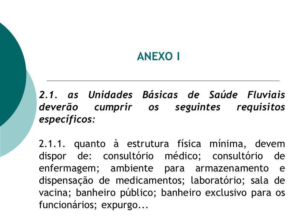 ANEXO I 2.1. as Unidades Básicas de Saúde Fluviais deverão cumprir os seguintes requisitos específicos: 2.1.1. quanto à estrutura física mínima, devem