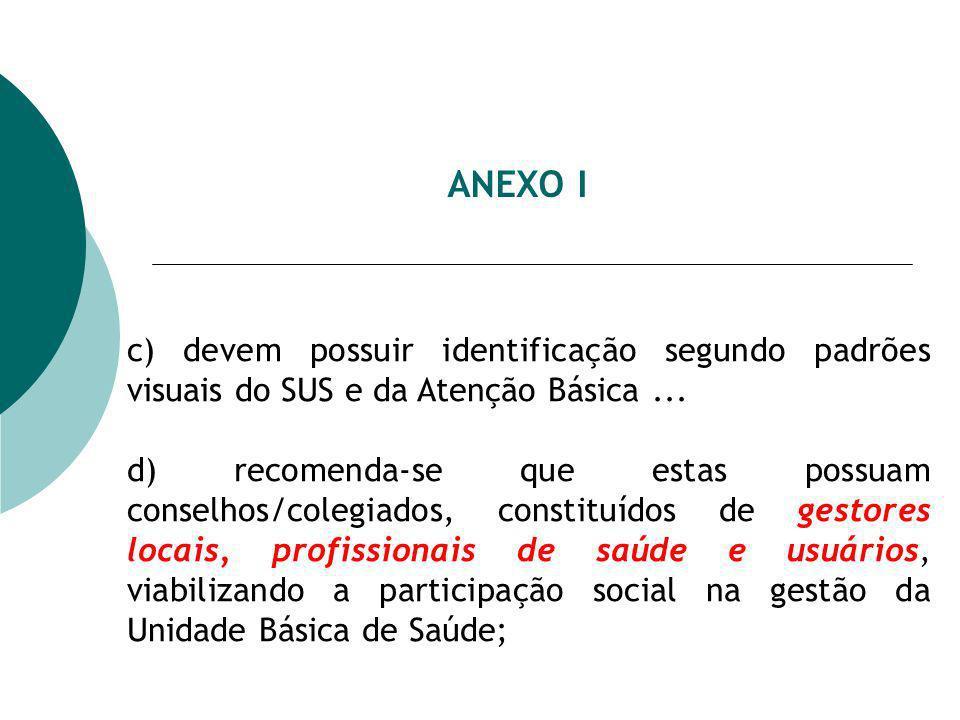 ANEXO I c) devem possuir identificação segundo padrões visuais do SUS e da Atenção Básica... d) recomenda-se que estas possuam conselhos/colegiados, c