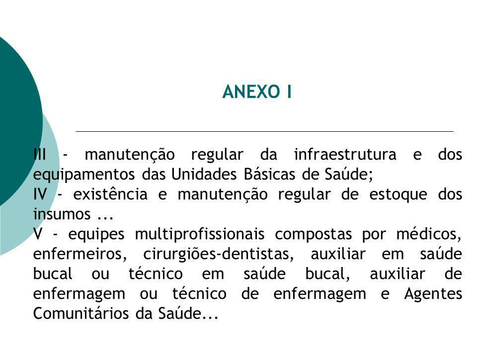ANEXO I III - manutenção regular da infraestrutura e dos equipamentos das Unidades Básicas de Saúde; IV - existência e manutenção regular de estoque dos insumos...