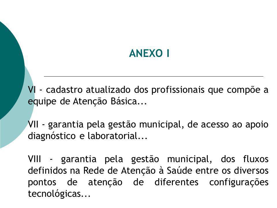 ANEXO I VI - cadastro atualizado dos profissionais que compõe a equipe de Atenção Básica... VII - garantia pela gestão municipal, de acesso ao apoio d