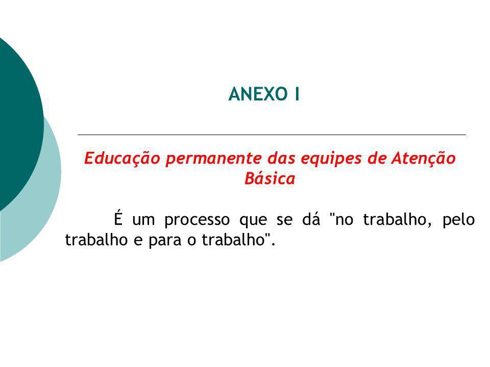 ANEXO I Educação permanente das equipes de Atenção Básica É um processo que se dá no trabalho, pelo trabalho e para o trabalho .