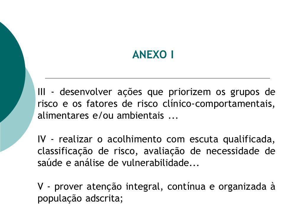 ANEXO I III - desenvolver ações que priorizem os grupos de risco e os fatores de risco clínico-comportamentais, alimentares e/ou ambientais... IV - re