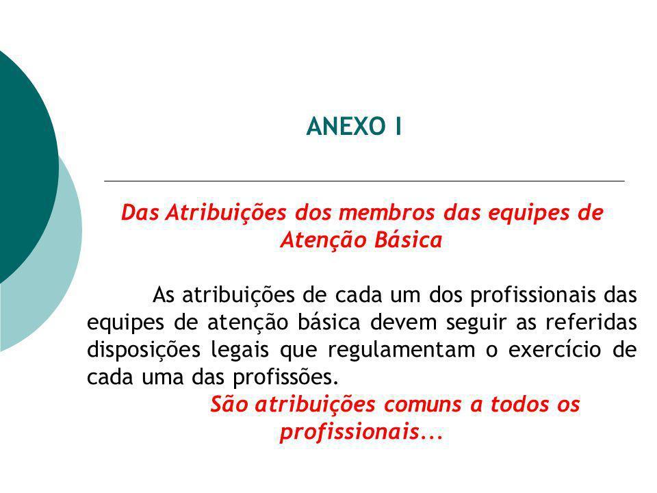 ANEXO I Das Atribuições dos membros das equipes de Atenção Básica As atribuições de cada um dos profissionais das equipes de atenção básica devem seguir as referidas disposições legais que regulamentam o exercício de cada uma das profissões.