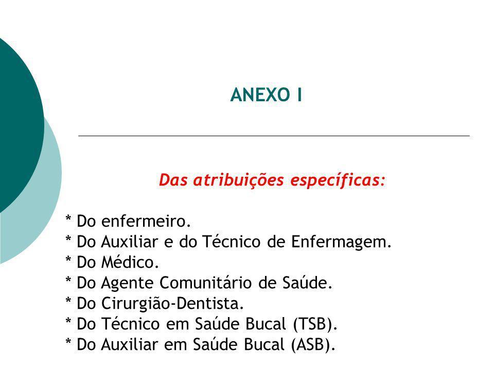 ANEXO I Das atribuições específicas: * Do enfermeiro.