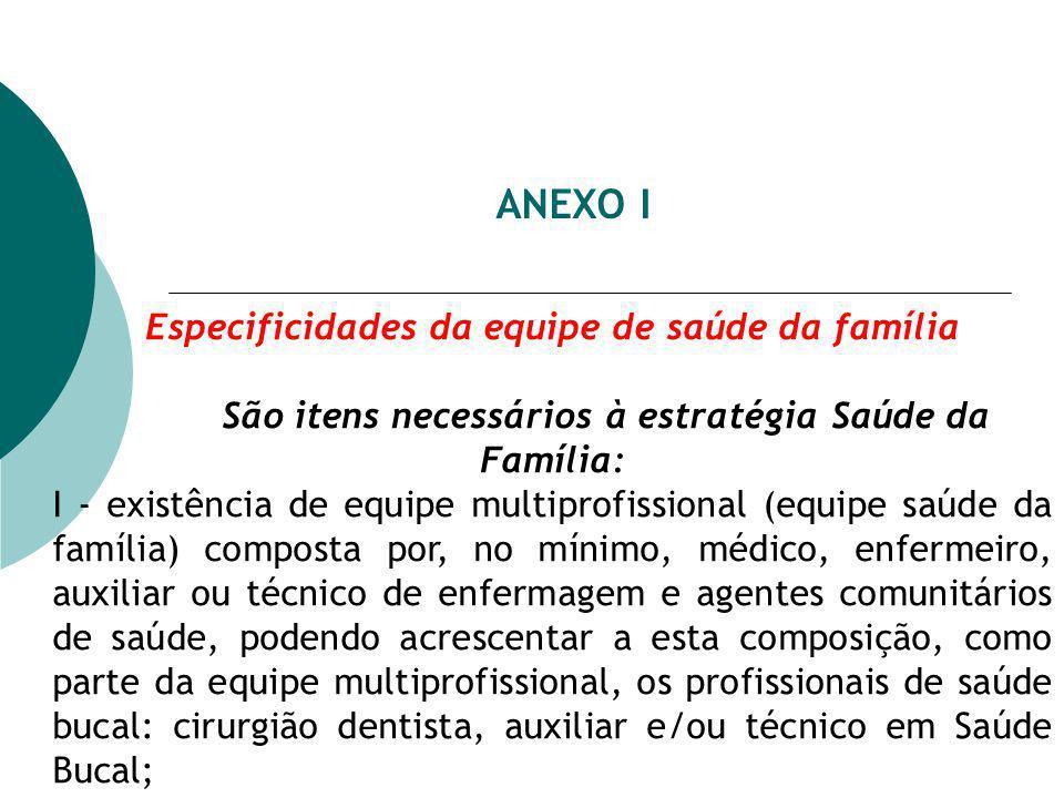 ANEXO I Especificidades da equipe de saúde da família São itens necessários à estratégia Saúde da Família: I - existência de equipe multiprofissional