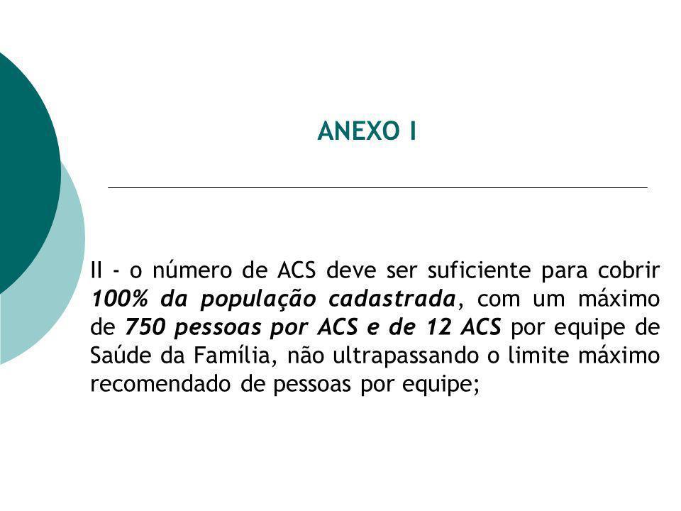 ANEXO I II - o número de ACS deve ser suficiente para cobrir 100% da população cadastrada, com um máximo de 750 pessoas por ACS e de 12 ACS por equipe de Saúde da Família, não ultrapassando o limite máximo recomendado de pessoas por equipe;