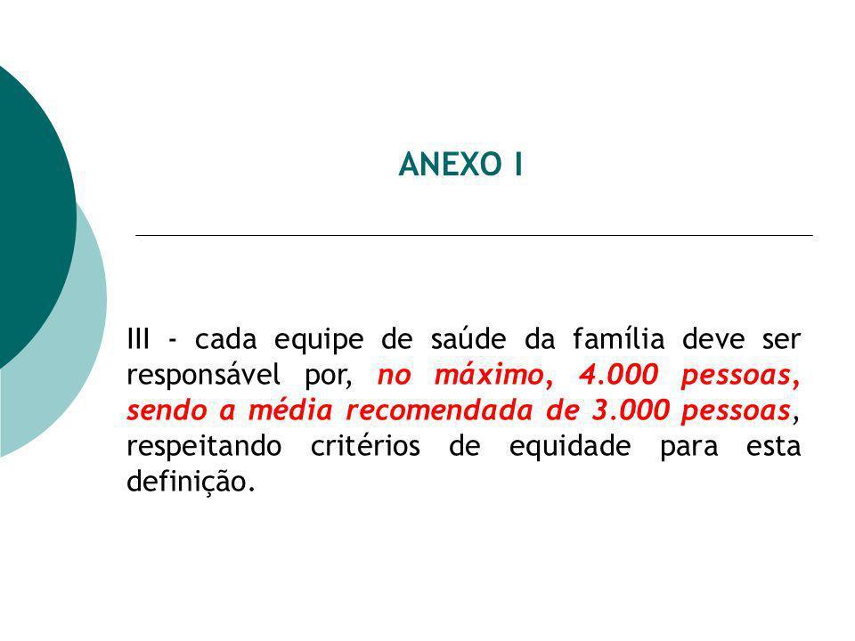 ANEXO I III - cada equipe de saúde da família deve ser responsável por, no máximo, 4.000 pessoas, sendo a média recomendada de 3.000 pessoas, respeitando critérios de equidade para esta definição.