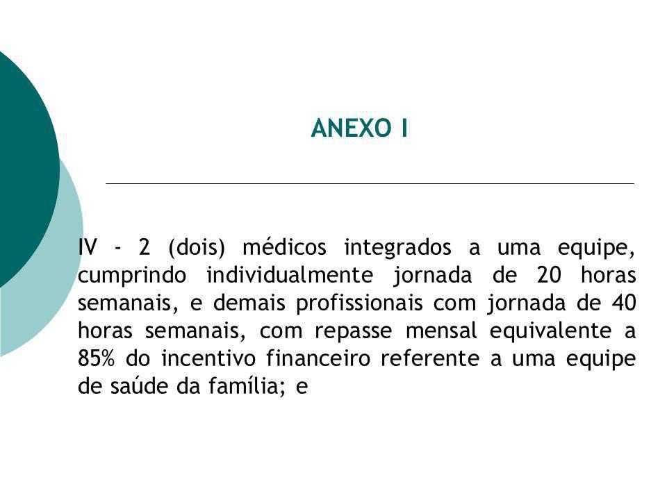 ANEXO I IV - 2 (dois) médicos integrados a uma equipe, cumprindo individualmente jornada de 20 horas semanais, e demais profissionais com jornada de 40 horas semanais, com repasse mensal equivalente a 85% do incentivo financeiro referente a uma equipe de saúde da família; e