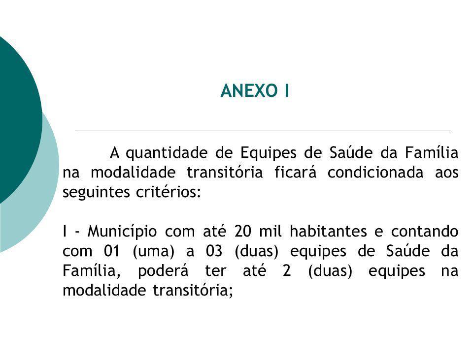 ANEXO I A quantidade de Equipes de Saúde da Família na modalidade transitória ficará condicionada aos seguintes critérios: I - Município com até 20 mil habitantes e contando com 01 (uma) a 03 (duas) equipes de Saúde da Família, poderá ter até 2 (duas) equipes na modalidade transitória;