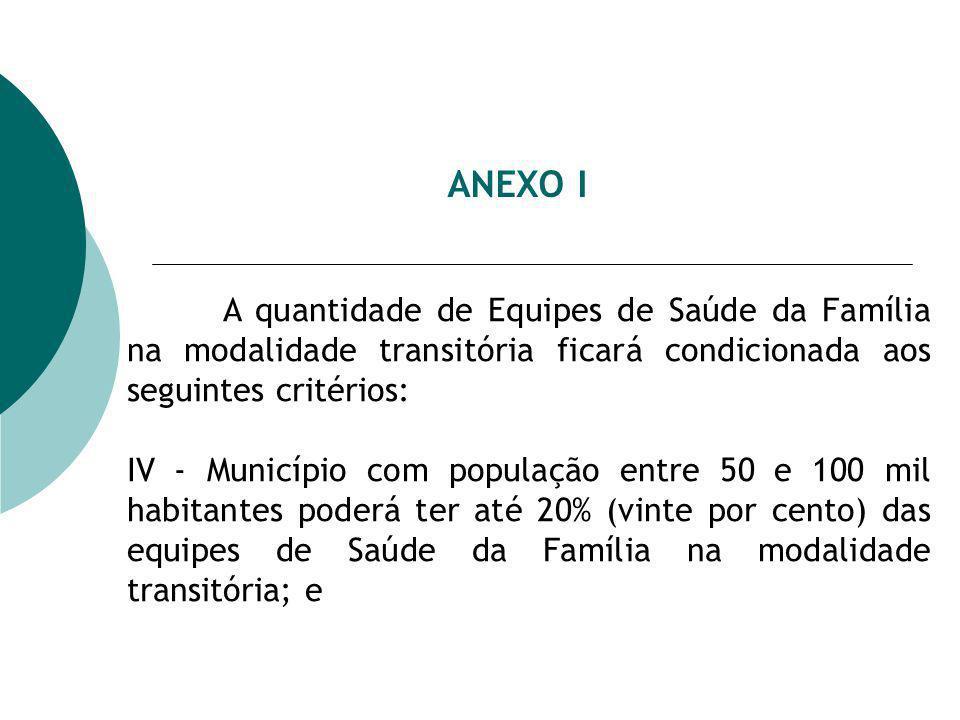ANEXO I A quantidade de Equipes de Saúde da Família na modalidade transitória ficará condicionada aos seguintes critérios: IV - Município com populaçã
