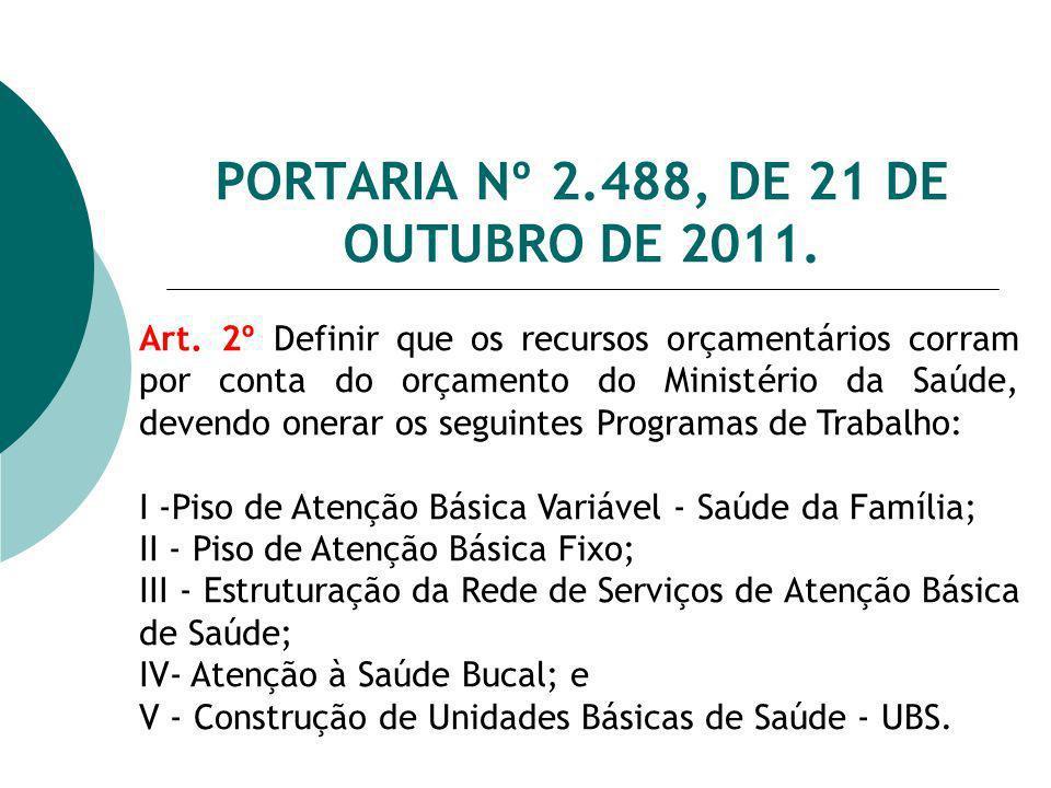 PORTARIA Nº 2.488, DE 21 DE OUTUBRO DE 2011. Art. 2º Definir que os recursos orçamentários corram por conta do orçamento do Ministério da Saúde, deven