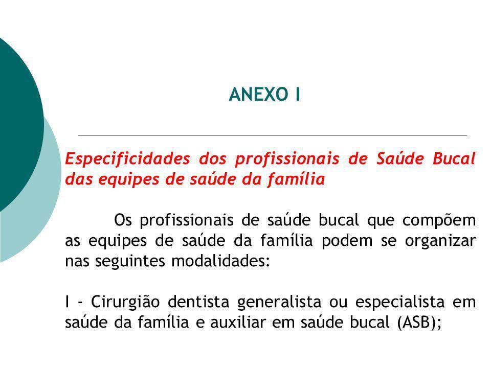 ANEXO I Especificidades dos profissionais de Saúde Bucal das equipes de saúde da família Os profissionais de saúde bucal que compõem as equipes de saú