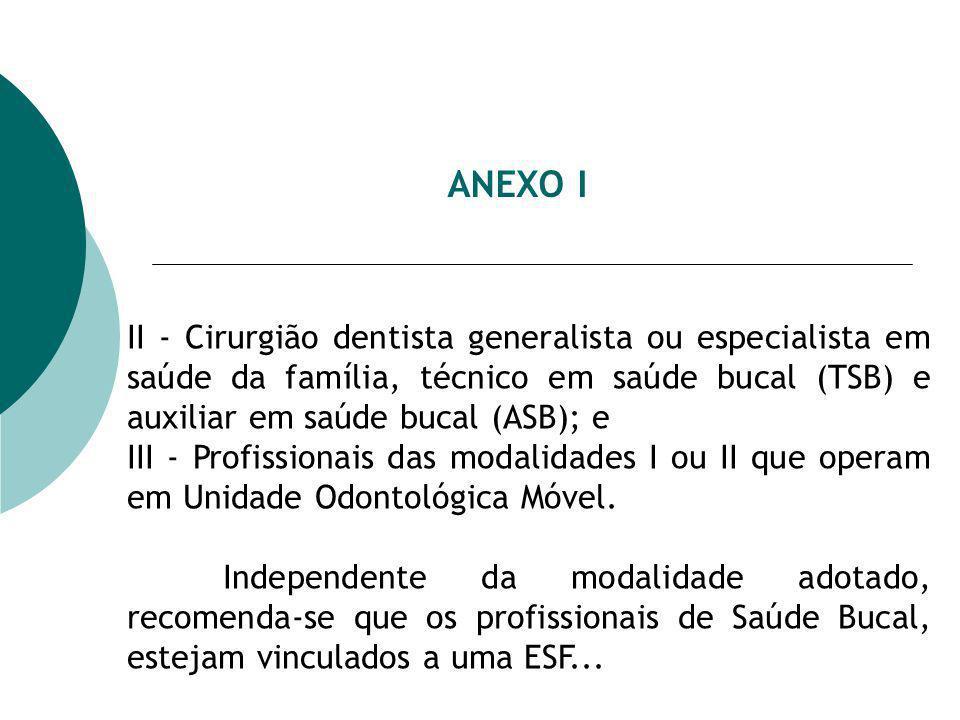 ANEXO I II - Cirurgião dentista generalista ou especialista em saúde da família, técnico em saúde bucal (TSB) e auxiliar em saúde bucal (ASB); e III - Profissionais das modalidades I ou II que operam em Unidade Odontológica Móvel.