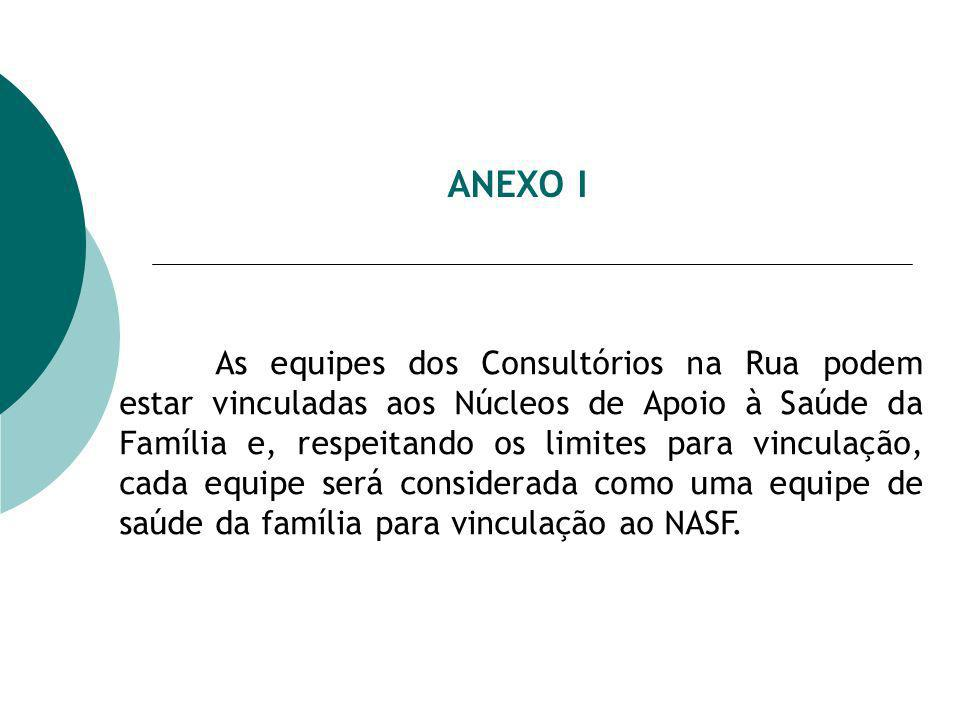 ANEXO I As equipes dos Consultórios na Rua podem estar vinculadas aos Núcleos de Apoio à Saúde da Família e, respeitando os limites para vinculação, cada equipe será considerada como uma equipe de saúde da família para vinculação ao NASF.