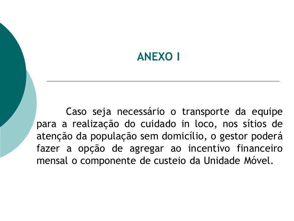 ANEXO I Caso seja necessário o transporte da equipe para a realização do cuidado in loco, nos sítios de atenção da população sem domicílio, o gestor p