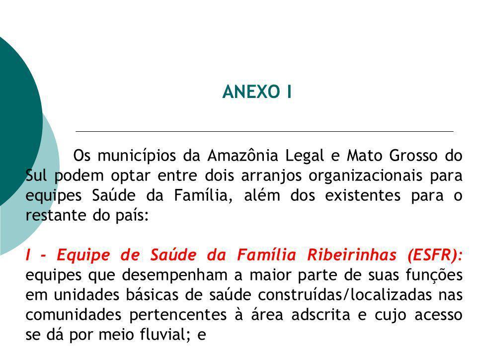ANEXO I Os municípios da Amazônia Legal e Mato Grosso do Sul podem optar entre dois arranjos organizacionais para equipes Saúde da Família, além dos e