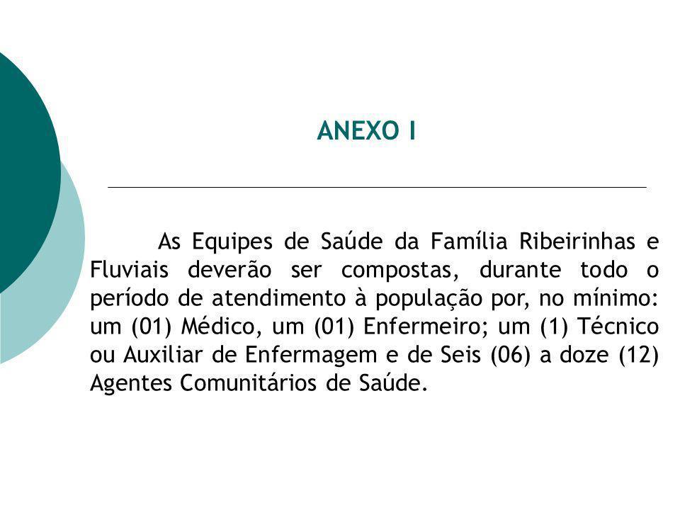ANEXO I As Equipes de Saúde da Família Ribeirinhas e Fluviais deverão ser compostas, durante todo o período de atendimento à população por, no mínimo: um (01) Médico, um (01) Enfermeiro; um (1) Técnico ou Auxiliar de Enfermagem e de Seis (06) a doze (12) Agentes Comunitários de Saúde.