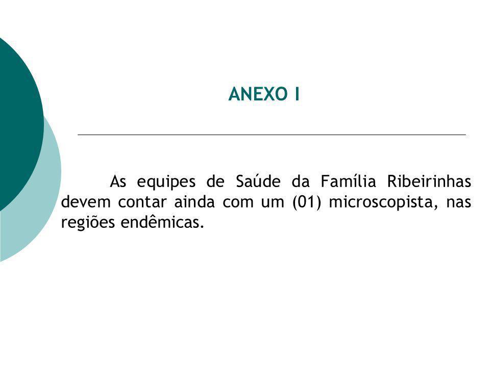 ANEXO I As equipes de Saúde da Família Ribeirinhas devem contar ainda com um (01) microscopista, nas regiões endêmicas.