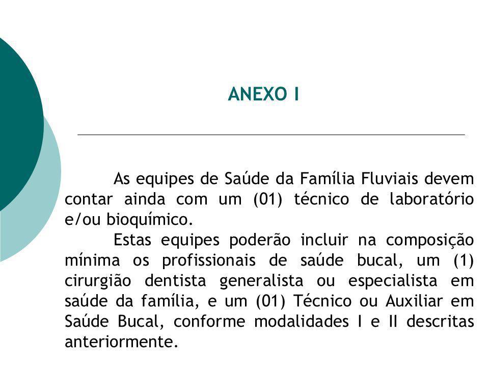 ANEXO I As equipes de Saúde da Família Fluviais devem contar ainda com um (01) técnico de laboratório e/ou bioquímico. Estas equipes poderão incluir n