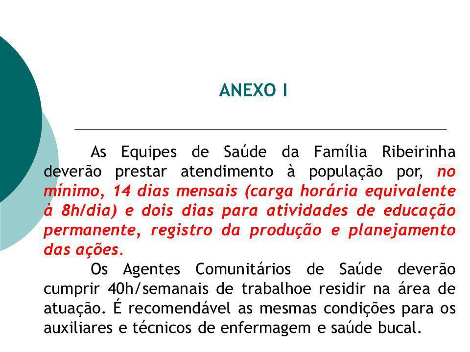 ANEXO I As Equipes de Saúde da Família Ribeirinha deverão prestar atendimento à população por, no mínimo, 14 dias mensais (carga horária equivalente à