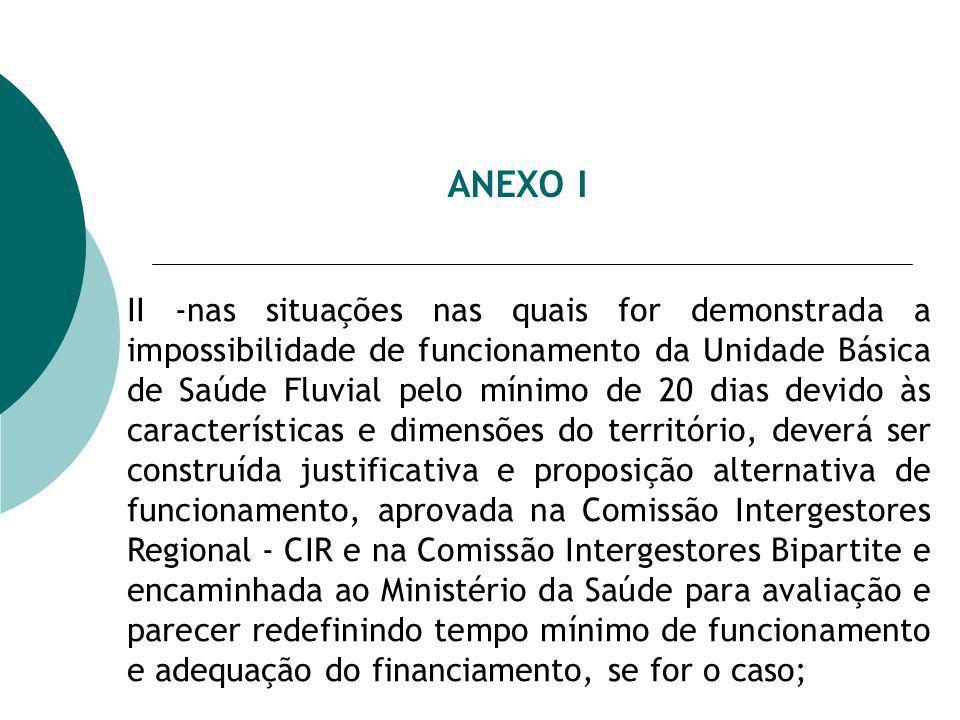 ANEXO I II -nas situações nas quais for demonstrada a impossibilidade de funcionamento da Unidade Básica de Saúde Fluvial pelo mínimo de 20 dias devid