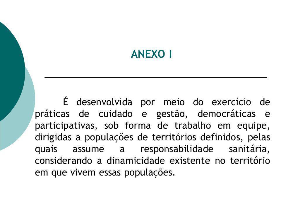 ANEXO I É desenvolvida por meio do exercício de práticas de cuidado e gestão, democráticas e participativas, sob forma de trabalho em equipe, dirigida