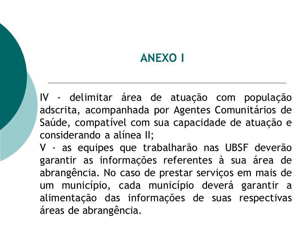 ANEXO I IV - delimitar área de atuação com população adscrita, acompanhada por Agentes Comunitários de Saúde, compatível com sua capacidade de atuação