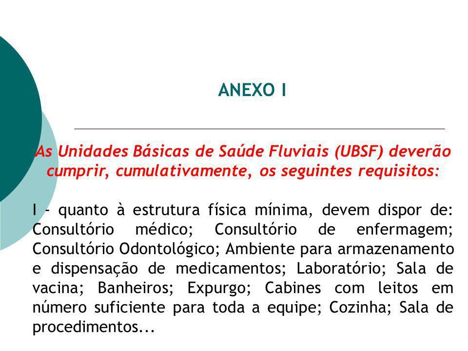 ANEXO I As Unidades Básicas de Saúde Fluviais (UBSF) deverão cumprir, cumulativamente, os seguintes requisitos: I - quanto à estrutura física mínima,