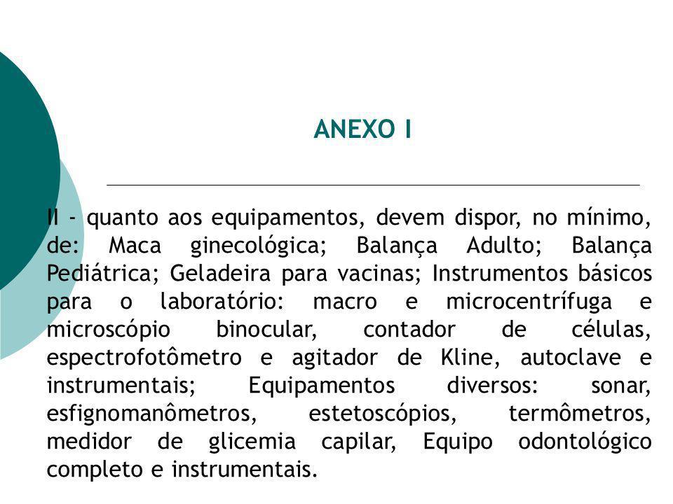 ANEXO I II - quanto aos equipamentos, devem dispor, no mínimo, de: Maca ginecológica; Balança Adulto; Balança Pediátrica; Geladeira para vacinas; Instrumentos básicos para o laboratório: macro e microcentrífuga e microscópio binocular, contador de células, espectrofotômetro e agitador de Kline, autoclave e instrumentais; Equipamentos diversos: sonar, esfignomanômetros, estetoscópios, termômetros, medidor de glicemia capilar, Equipo odontológico completo e instrumentais.