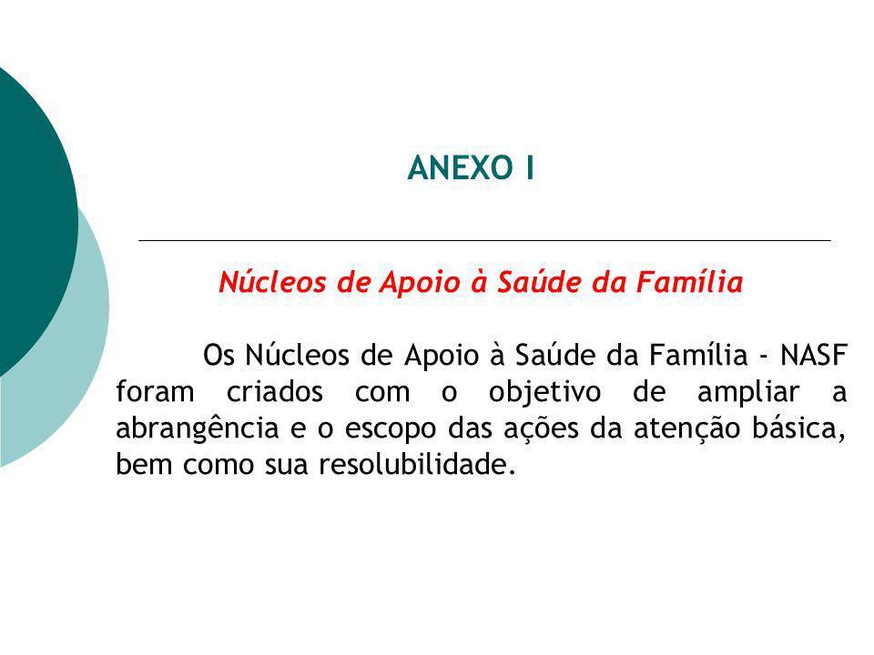 ANEXO I Núcleos de Apoio à Saúde da Família Os Núcleos de Apoio à Saúde da Família - NASF foram criados com o objetivo de ampliar a abrangência e o escopo das ações da atenção básica, bem como sua resolubilidade.