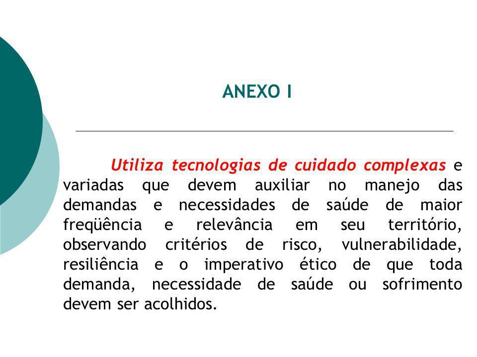 ANEXO I Utiliza tecnologias de cuidado complexas e variadas que devem auxiliar no manejo das demandas e necessidades de saúde de maior freqüência e re