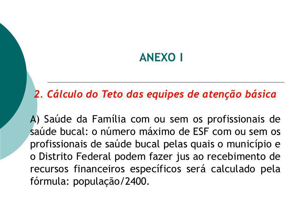 ANEXO I 2. Cálculo do Teto das equipes de atenção básica A) Saúde da Família com ou sem os profissionais de saúde bucal: o número máximo de ESF com ou