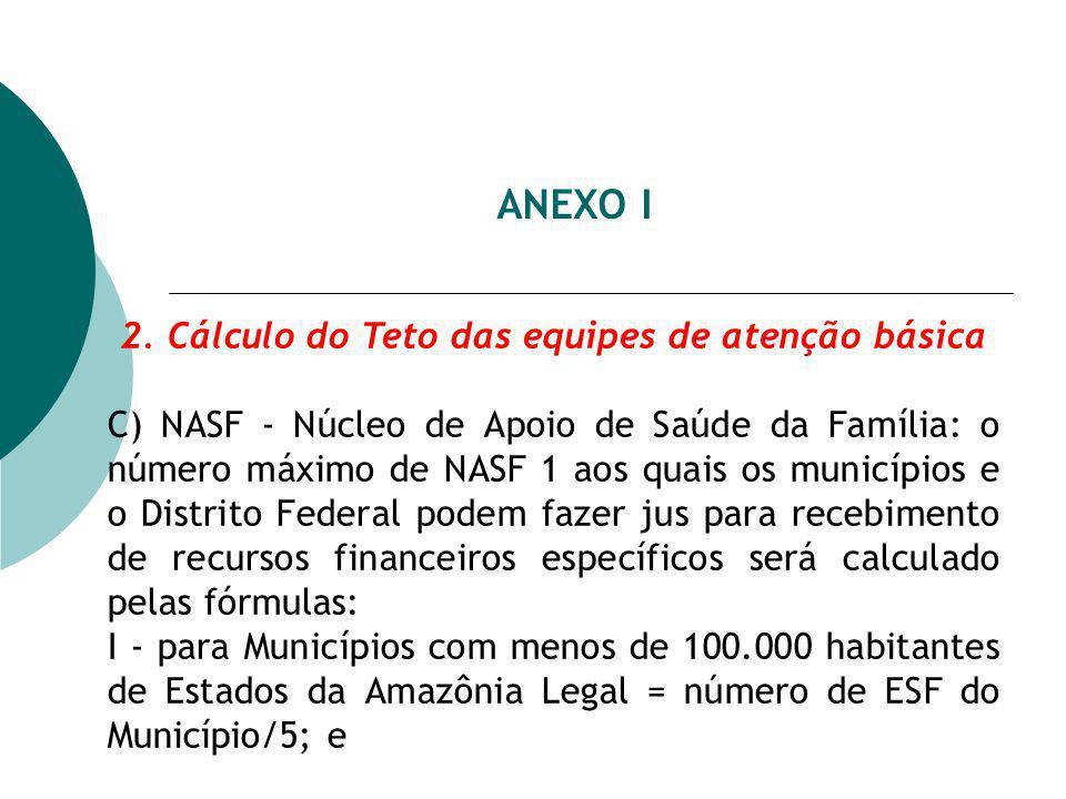 ANEXO I 2. Cálculo do Teto das equipes de atenção básica C) NASF - Núcleo de Apoio de Saúde da Família: o número máximo de NASF 1 aos quais os municíp