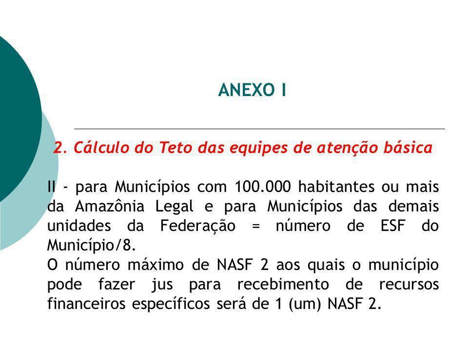 ANEXO I 2. Cálculo do Teto das equipes de atenção básica II - para Municípios com 100.000 habitantes ou mais da Amazônia Legal e para Municípios das d