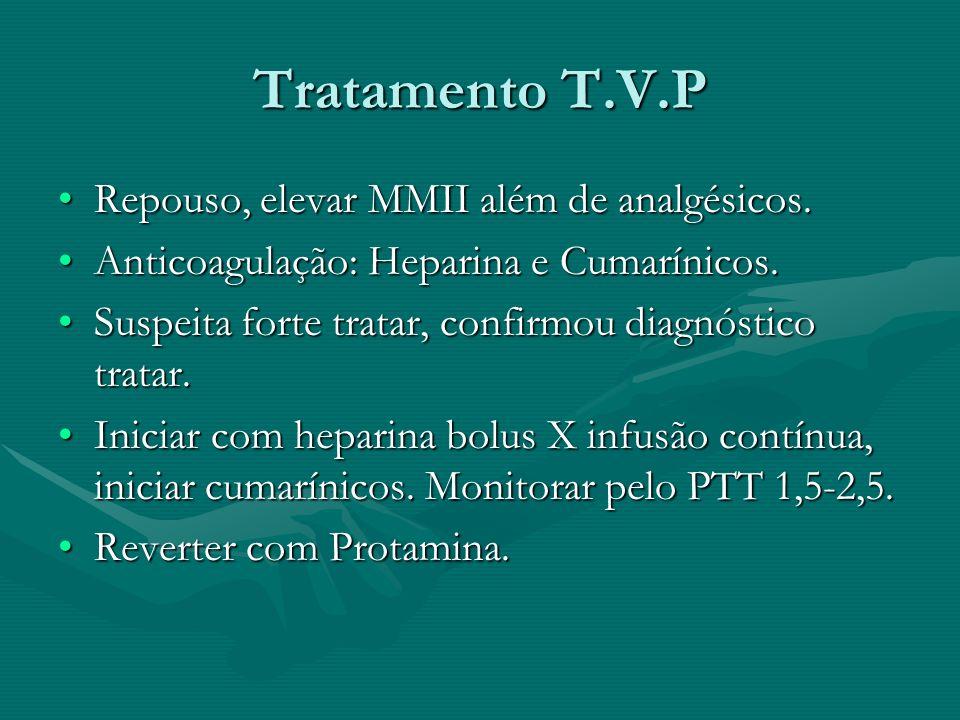 Tratamento T.V.P Repouso, elevar MMII além de analgésicos.Repouso, elevar MMII além de analgésicos. Anticoagulação: Heparina e Cumarínicos.Anticoagula