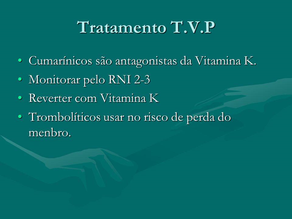 Tratamento T.V.P Cumarínicos são antagonistas da Vitamina K.Cumarínicos são antagonistas da Vitamina K. Monitorar pelo RNI 2-3Monitorar pelo RNI 2-3 R